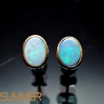 【SUMMER寶石】天然澳洲國寶蛋白石耳環(時尚設計款-925銀玫瑰金色-059)