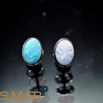 【SUMMER寶石】天然澳洲國寶蛋白石耳環(時尚設計款-925銀-288)