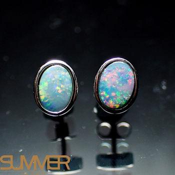 【SUMMER寶石】天然澳洲國寶蛋白石耳環(時尚設計款-925銀-059)