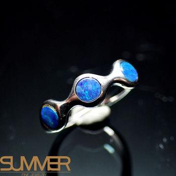 【SUMMER寶石】天然澳洲國寶蛋白石戒指(時尚設計款-925銀) (Ab-02)