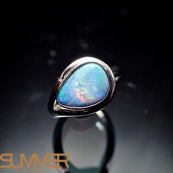 【SUMMER寶石】天然澳洲國寶蛋白石戒指(時尚設計款-925銀) (Ab-03)