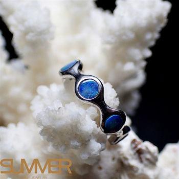 【SUMMER寶石】天然澳洲國寶環形蛋白石戒指(時尚設計款-925銀) (Ab-16)