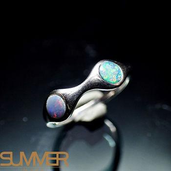 【SUMMER寶石】天然澳洲國寶蛋白石戒指(時尚設計款-925銀) (Ab-05)