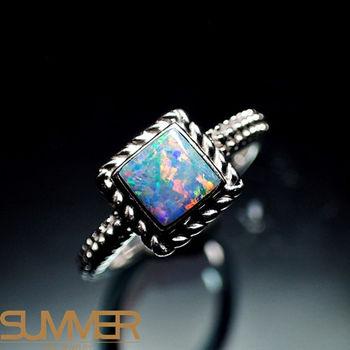 【SUMMER寶石】天然澳洲國寶蛋白石戒指(時尚設計款-925銀) (Ab-07)
