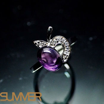 【SUMMER寶石】天然智慧之石紫水晶戒指(時尚設計款-925銀)