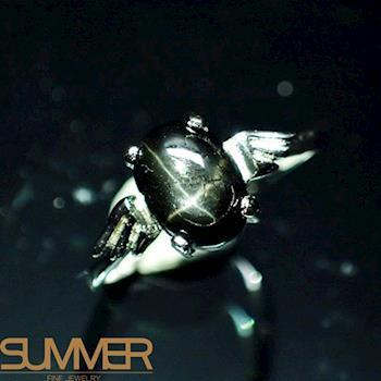 【SUMMER寶石】天然能量十字黑星光戒指(時尚設計款-925銀)