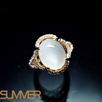 【SUMMER寶石】天然嚴選月光石戒指(925銀玫瑰金色) (AC-1)