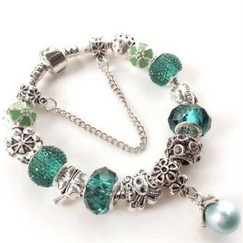 【米蘭精品】925純銀手鍊潘朵拉元素水晶琉璃飾品珍珠吊墜綠色系列73bo14