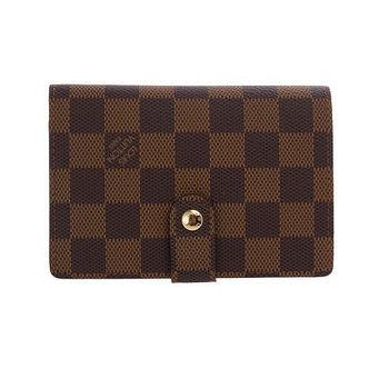 LV N61674 經典Damier棋盤格扣式短夾