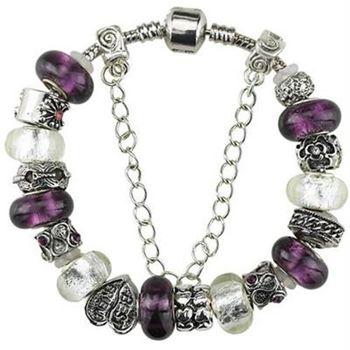 【米蘭精品】潘朵拉元素手鍊925純銀琉璃飾品高貴紫色系列精美73ay42