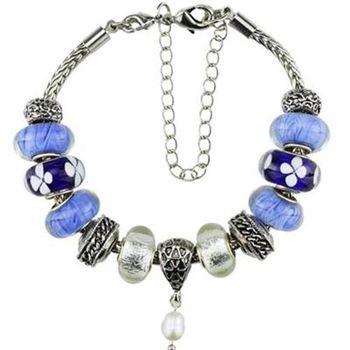 【米蘭精品】潘朵拉元素手鍊925純銀琉璃飾品時尚清新藍色系列73ay63