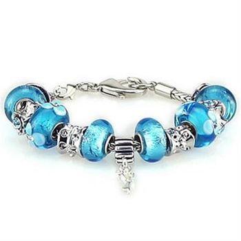 【米蘭精品】潘朵拉元素手鍊925純銀琉璃飾品藍色系列時尚優雅73ay79