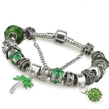 【米蘭精品】潘朵拉元素手鍊925純銀水晶飾品獅子座轉運綠色系列73ay80
