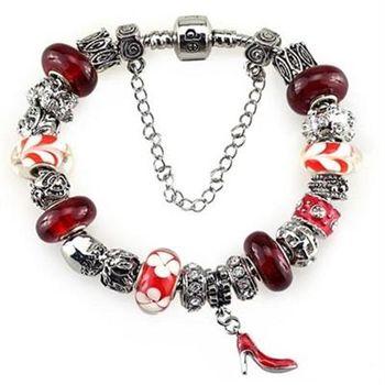 【米蘭精品】潘朵拉元素手鍊925純銀琉璃飾品性感紅色高跟鞋時尚熱銷73ay97