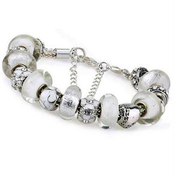 【米蘭精品】潘朵拉元素手鍊925純銀琉璃飾品純淨白色時尚別緻73ay104