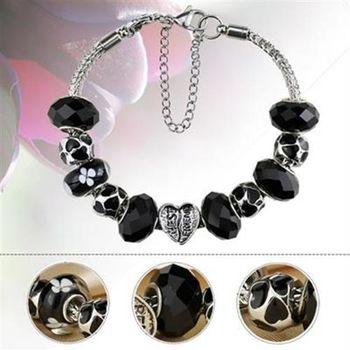 【米蘭精品】潘朵拉元素手鍊925純銀水晶琉璃飾品時尚高貴黑色系列73ay105