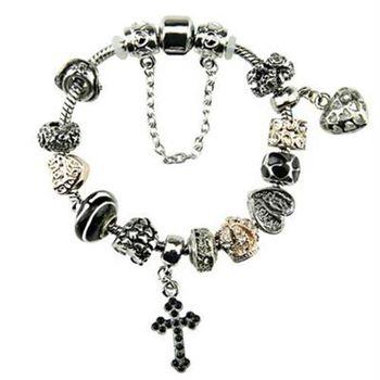 【米蘭精品】潘朵拉元素手鍊925純銀琉璃飾品黑色十字架歐美時尚個性73ay115