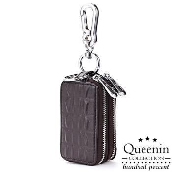 DF Queenin皮夾 - 奔馳經典牛皮鱷魚壓紋鑰匙包