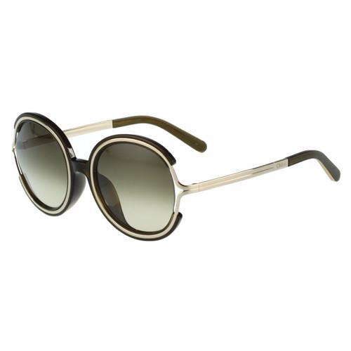 CHLOE太陽眼鏡 大圓框(外灰黑內金)