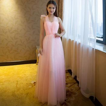 。DearBaby。女神甜美多種穿法紗質長禮服伴娘服(四色)-預購