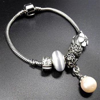 【米蘭精品】925純銀手鍊潘朵拉元素琉璃飾品氣質百搭珍珠吊墜73bo56