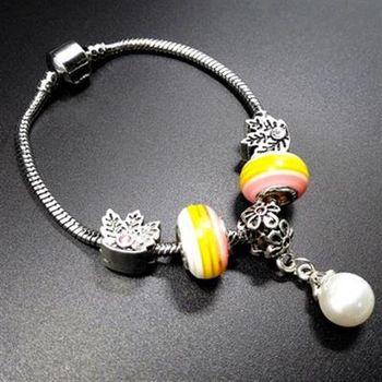 【米蘭精品】925純銀手鍊潘朵拉元素琉璃飾品珍珠吊墜亮麗活潑73bo52
