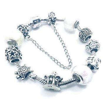 【米蘭精品】925純銀手鍊潘朵拉元素琉璃飾品素雅白色氣質百搭73bo39