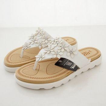 《DOOK》春漾花朵飾鑽夾腳拖鞋-氣質白