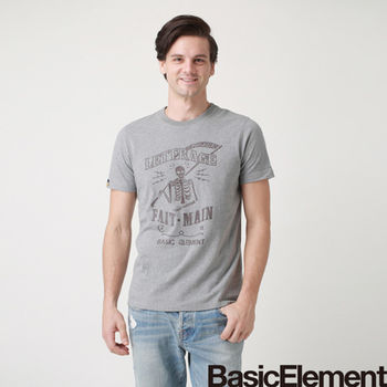 【BasicElement】男款骷髏使者T-麻灰
