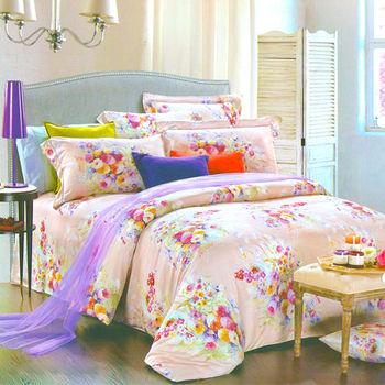 【Betrise艾菲爾花園】特大100%奧地利天絲TENCEL四件式兩用被床包組