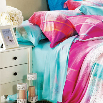 【Betrise】愛戀曲恙-加大100%天絲TENCEL四件式鋪棉兩用被床包組