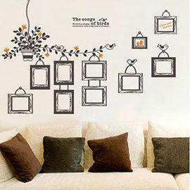 窩自在★DIY無痕創意牆貼壁貼-鳥兒相框_DLX501(60X90)