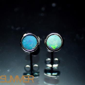 【SUMMER寶石】天然澳洲國寶蛋白石耳環(時尚設計款-925銀-073)