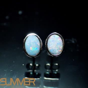 【SUMMER寶石】天然澳洲國寶蛋白石耳環(時尚設計款-925銀-041)