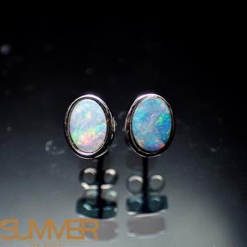 【SUMMER寶石】天然澳洲國寶蛋白石耳環(時尚設計款-925銀-137)