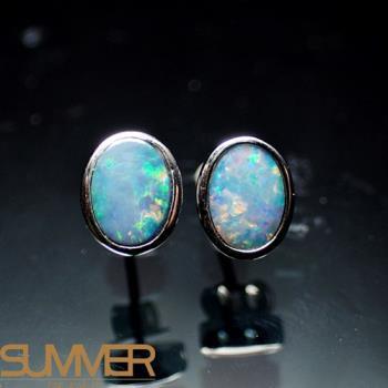 【SUMMER寶石】天然澳洲國寶蛋白石耳環(時尚設計款-925銀-028)