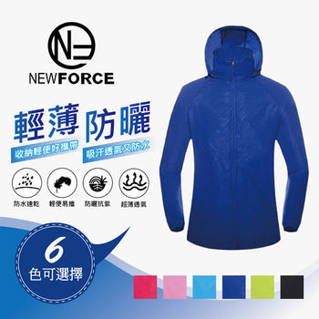 【NEW FORCE】超輕量輕巧收納防風雨抗曬連帽外套-寶藍