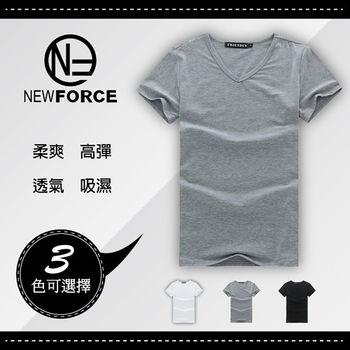 【NEW FORCE】涼爽牛奶絲棉修身V領短T(1入-灰色)