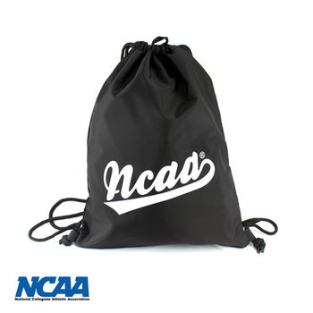 NCAA 束口包 大字母束口防潑水拉繩後背包_黑色