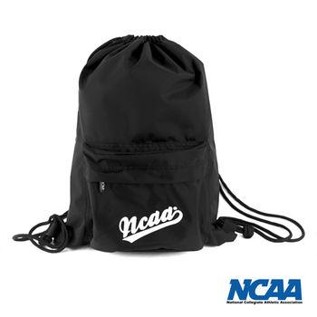 NCAA 束口包 大字母束口防潑水拉繩後背包(前口袋)_黑色