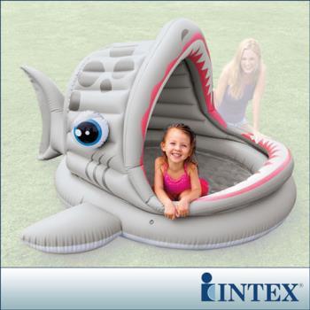【INTEX】BABY鯊魚游泳池/遮陽戲水池(201*198cm)(121L) (57120)