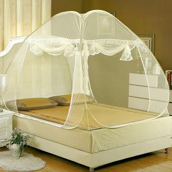 Lapin 加大空間雙開蒙古包蚊帳-米黃 (特大200x220cm)