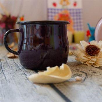Emalia Olkusz波蘭手工琺瑯曲線杯-黑莓紫(250ml)