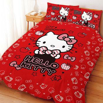 【享夢城堡】HELLO KITTY 貼心小物系列-雙人床包薄被套組(粉)(紅)