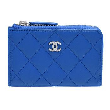 CHANEL 經典銀色雙C LOGO菱格紋小羊皮L型拉鍊鑰匙零錢包(藍)