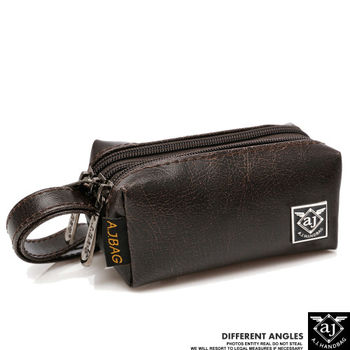 【AJ.亞介】 三拉鍊皮革 小包 隨身包 手拿包  (UE8918)
