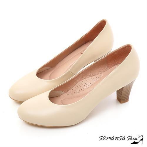 莎曼莎手工鞋【MIT全真皮】歐美經典復古素色粗跟仿木紋中跟鞋--#14401 粉底米