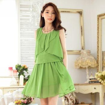 【KVOLL中大尺碼】綠色坎肩雪紡無袖連衣裙
