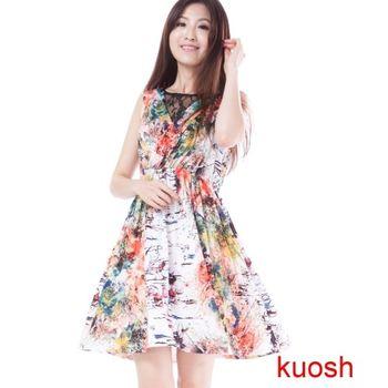 【Kuosh】美國設計點線面抽象圖騰洋裝(NS-6005)