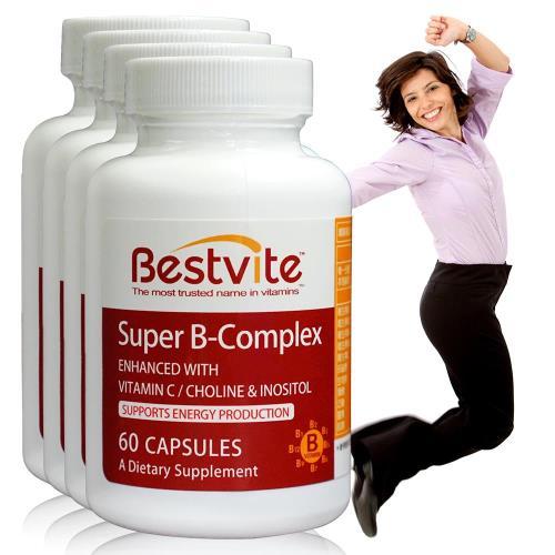 【美國BestVite】必賜力超級維他命B群膠囊4瓶組 (60顆*4瓶)